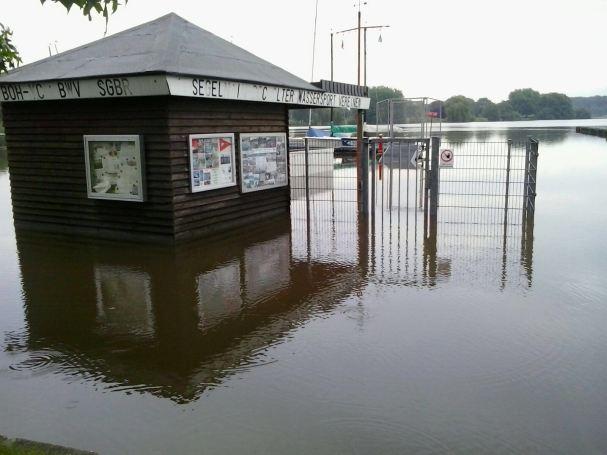 Aasee beim Hochwasser 2016
